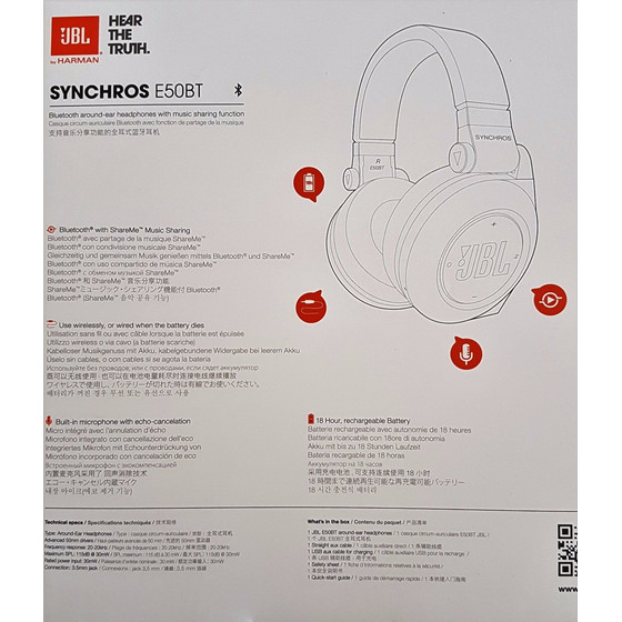 JBL Synchros E50 BT Wireless Bluetooth Over-Ear Stereo-Kopfhörer