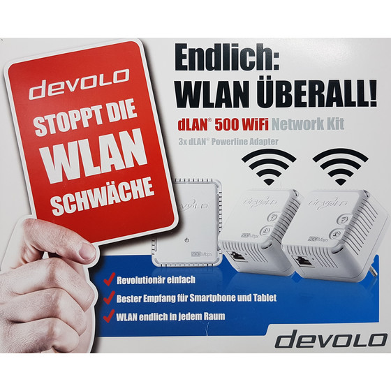 Devolo dLAN 500 WiFi Powerline Starter Kit 3 Adapter