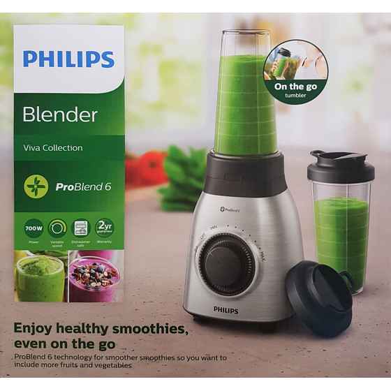 Philips Viva Collection HR3551/00 Standmixer Smoothie-Maker, 700W, Silber
