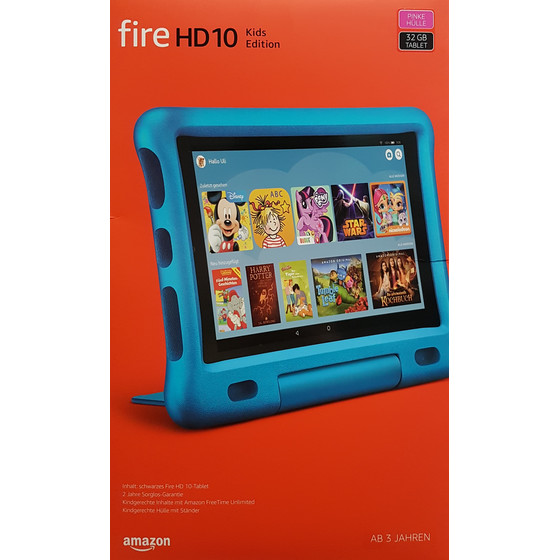 Amazon Fire HD 10 Kids Edition-Tablet 2019, 25,65 cm (10,1 Zoll) Display, pinke kindgerechte Hülle mit Ständer