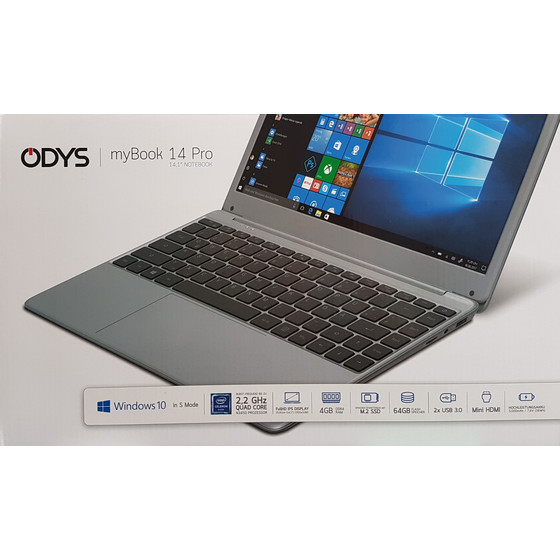 Odys myBook 14 33,81cm (14,1 Zoll) Notebook Full HD IPS 64GB HDD 4GB RAM Windows 10 Home S, Grau