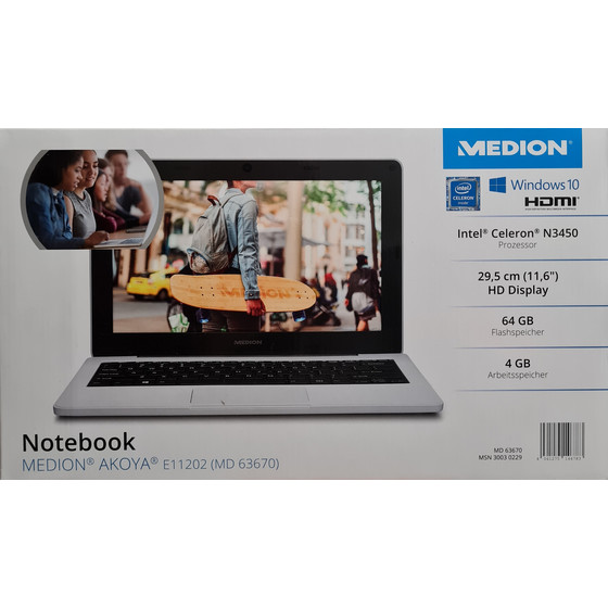 Medion Akoya E11202 (MD63670) 29,46 cm (11,6 Zoll) Notebook, Intel Celeron N3450, 4 GB RAM, 64 GB, Windows 10 S home, QWERTZ - Weiß